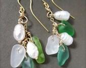 Sea Glass Pearl Earrings