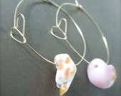 Hawaiian Shell Earrings Wire Hoop Hearts