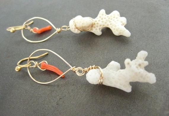 20% SALE - Coral Earrings Hawaii