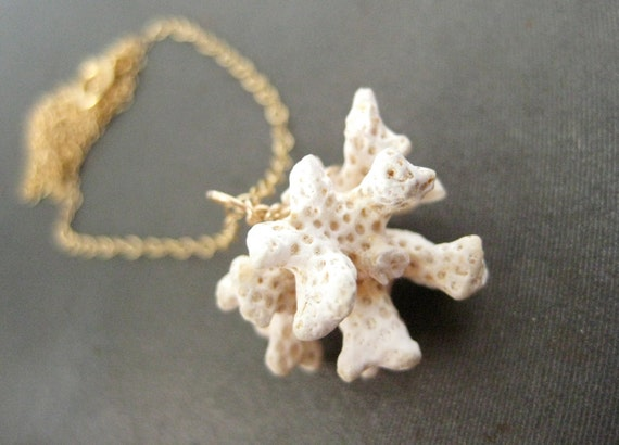 20% SALE - Natural Coral Necklace on 14k Gold Chain