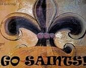 New Orleans Saints Fleur de Lis 12x18  Limited Edition Print