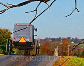 Scenic Pennsylvania Amish Carriage Fall Landscape 11x14 Limited Edition Print