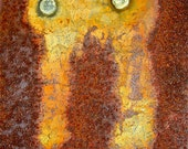 Abstract Fine Art Photography Rust Metal Yellow Orange Industrial Totem  8x12