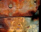 Abstract Fine Art Photography Orange Grey Barn Metal Rust, Overlap - 8x12