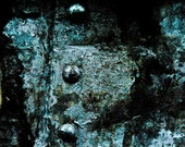 Abstract Fine Art Photography Industrial Metal Still Life Color Black and Blue, Shipwrecked - 8x12