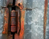 Abstract Fine Art Photography Industrial Rust Orange Grey,  Hinge And Rust Wave 8x12