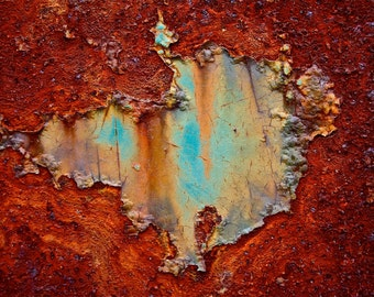 Abstract Fine Art Photography Blue Orange Rust, Mars Lake - 8x10