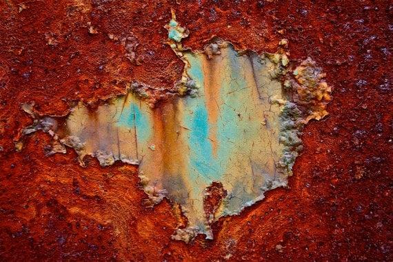 Abstract Fine Art Photography Blue Orange Rust, Mars Lake - 8x10