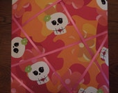 Memo Board - 11x14 Cute Skulls with pink floral