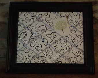 Fabric Covered Memo Board - 16x20 black and white swirls - Unframed