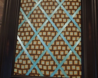 Framed memo board - 11x14 Chocolate Checks with Mint Ribbon - brown, green