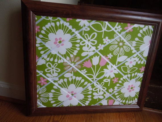 Framed Fabric Covered Memo Board - 16x20 modern green and pink floral