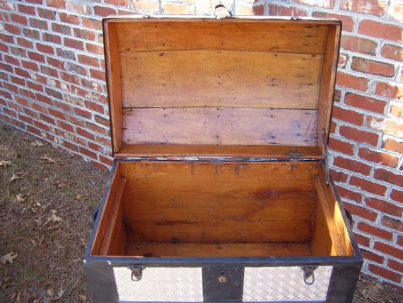 Antique Steamer Trunk Dome Top Embossed Metal Over Wood