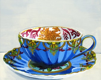 "Teacup blue. Limited edition giclée print 14/100, 12.7 x 17.7 cm (5"" x 7"")"