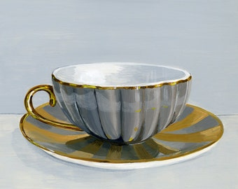 "Teacup gold. Limited edition giclée print, 15.2 x 15.2 cm (6"" x 6"") 5/100"