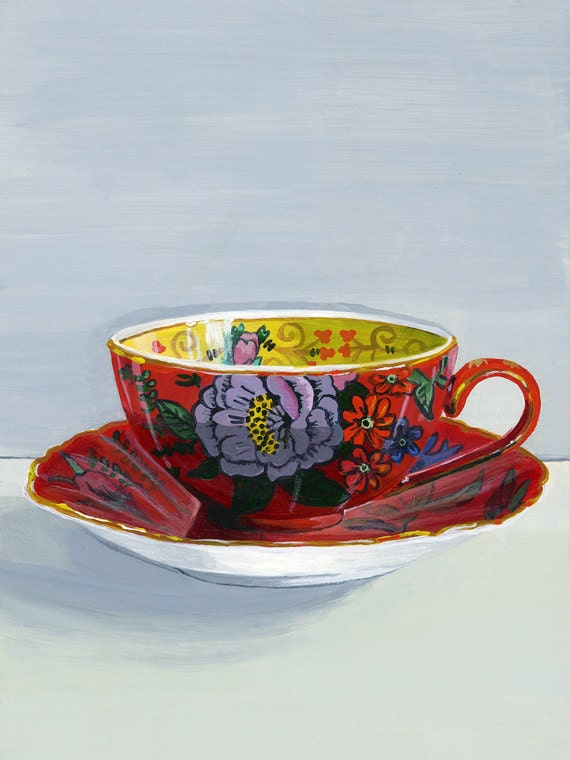 "Teacup red. Limited edition giclée print 10/100, 12.7 x 17.7 cm (5"" x 7"")"