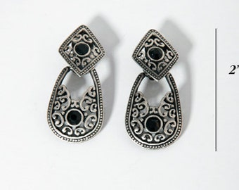 Dangle Edwardian Earrings  Ornate Silver Colored Design with Black Faceted Stones Earrings