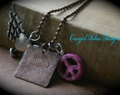 Carry On-Rustic Western Gypsy Cowgirl Charm Necklace-Wings Heart Peace