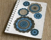 Notebook A6 spiral bound eco friendly funky flowers blue & natural on white