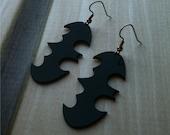 Batman Inspired Earrings, Bat Earrings, Black Acrylic Dangle Earrings