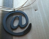 Black Acrylic At symbol Pendant. At sign Necklace