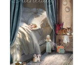 Fairy Print   'Bedtime Story' By Charlotte Bird. Matted to size 12x16inches. Hand signed and titled