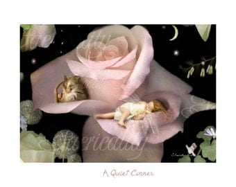 A Fairy Gift of art  ' A Quiet Corner ' Charlotte Bird Matted hand signed print