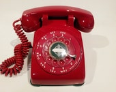 WORKING- Red Rotary Phone 1960s