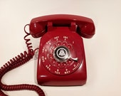 WORKING- Red Rotary Phone 1959
