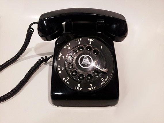 WORKING- Black Rotary Phone 1960s