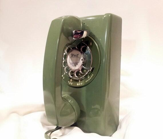 WORKING- Green Rotary Wall Phone