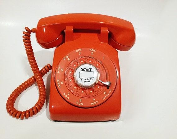 WORKING- Orange Rotary Phone 1971