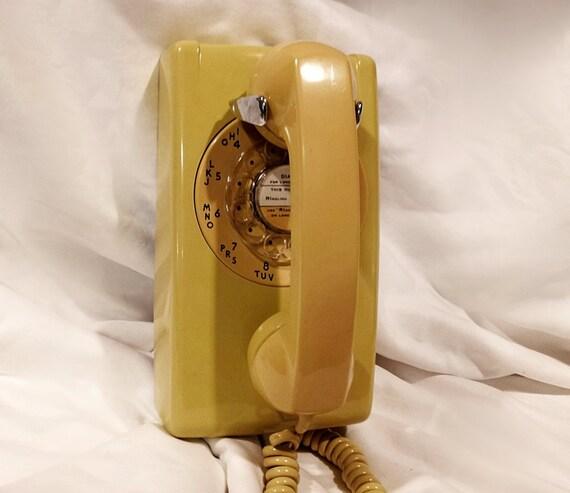 WORKING- Yellow Rotary Wall Phone