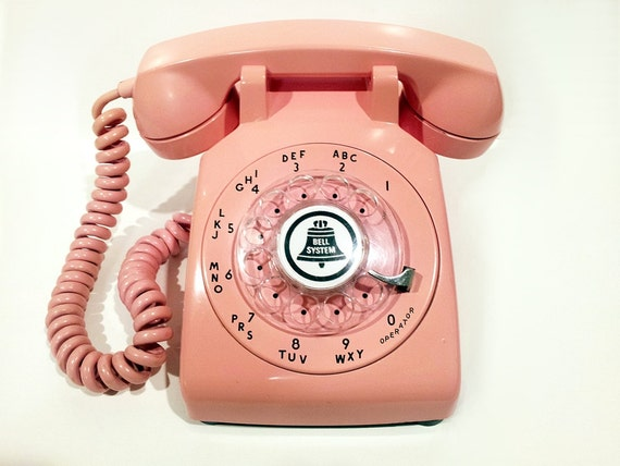 Pink Phone Telephone- Working Rotary Phone