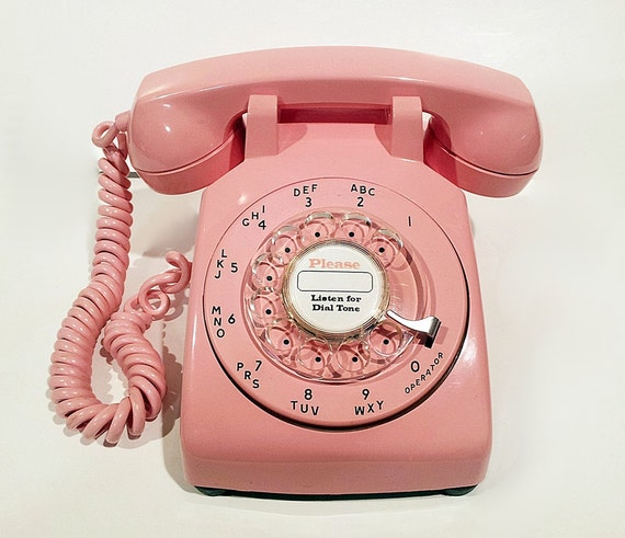 Pink Phone Telephone- Working Rotary Phone
