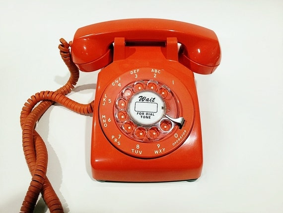 Orange Rotary Phone Working Telephone