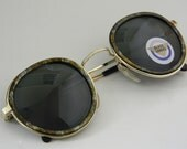Vintage Deadstock CIRCLE FRAME Sunglasses with Glass Lenses Multi-Colored Forest Green