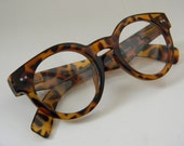 Vintage Inspired Tortise Acrylic Frame Spectacles Clear Lenses