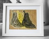 FREE SHIPPING. Dr marten boots lino print lino cut , embroidery and appliqué picture.