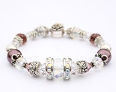 Shabby Chic Bracelet with Plum colored Swarovski glass pearls, Crystals, Pewter, and Sterling Silver.