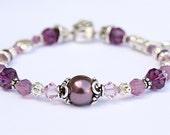 Sterling Silver Purple Charm Fleur de Lis Bracelet with Plum, Lavender, and Berry Opal Passion Swarovski Crystals