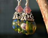 Rose Garden Green Glass Bead and Purple Passion Opal Swarovski with Sterling Silver Earings