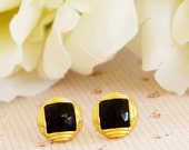 Black post earrings - buttons earrings studs or clip on