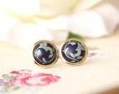 Floral earrings -Vintage buttons earrings studs or clip on