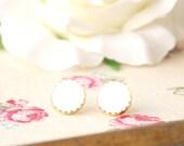 Free shipping -White enamel earrings-Vintage buttons earrings studs or clip on