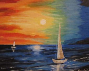 Original acrylic painting of sailboats, 9x12