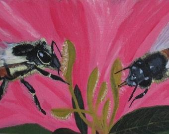 "Original acrylic painting of 2 bees on azalea flowers, 8""x16"""
