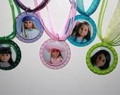 11 American Girl Doll Bottle Cap Necklaces with extra Pictures on the Back