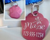 Paw-Shaped Aluminum Pet ID Tag - Many Colors, Custom Designs and Fonts