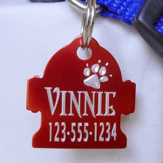 Hydrant-Shaped Aluminum Pet ID Tag - Many Colors, Custom Designs and Fonts